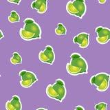 modell liten limefrukt och olika format för sidor på purpurfärgad bakgrund Royaltyfria Bilder