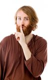 Modell lokalisiert mit dem Finger auf den Lippen geheim lizenzfreie stockbilder