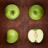 Modell med äpplen tropisk abstrakt bakgrund Det gröna äpplet bär frukt på den lantliga bakgrunden Arkivbild
