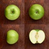 Modell med äpplen tropisk abstrakt bakgrund Det gröna äpplet bär frukt på den lantliga bakgrunden Arkivfoton
