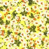 Modell med blommor av freesia på en gul bakgrundsvektor vektor illustrationer