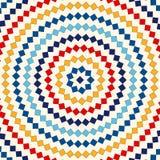 Modell med den symmetriska geometriska prydnaden Abstrakt begrepp upprepade ljus fyrkanter och rombbakgrund etnisk wallpaper Royaltyfri Bild