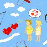 Modell med det förälskelsehjärtor, bandet och änglar Arkivfoton
