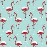 Modell med flamingo i hatt under snö på blå bakgrund royaltyfri illustrationer