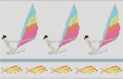 Modell med flickan på att surfa och fiskar Royaltyfri Fotografi