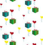 Modell med gåvor och ballonger Royaltyfri Bild