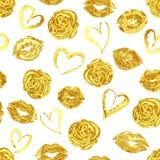 Modell med guld- kantkyssar, rosor och hjärtor stock illustrationer