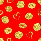 Modell med guld- kantkyssar, rosor och hjärtor Royaltyfria Bilder