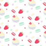 Modell med jordgubbar och sockerkonfekt royaltyfri illustrationer