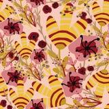 Modell med rosa och gula tropiska blommor royaltyfri illustrationer