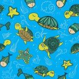 Modell med sköldpaddor stock illustrationer