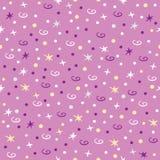 Modell med stjärnor, virvel och punkter Elegant sömlös modell på purpurfärgad bakgrund royaltyfri illustrationer