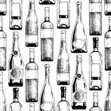 Modell med vin- och champagneflaskor vektor illustrationer