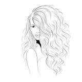 Modell med volym krullat hår Fotografering för Bildbyråer