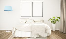 Modell mit zwei Plakaten auf skandinavischem Schlafzimmer lizenzfreie stockbilder