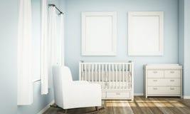 Modell mit zwei weißes Rahmen auf Raum des blauen Babys lizenzfreies stockbild
