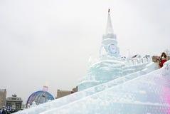 Modell Moskaus der Kreml gemacht vom Eis Lizenzfreies Stockbild