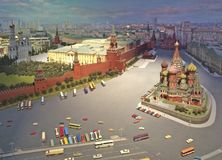 Modell Moskaus der Kreml in Hotel Radisson Ukraine lizenzfreies stockbild