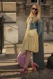 Modell på den London modeveckan Royaltyfria Foton