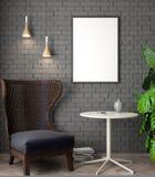 Modell-Plakat im Innenraum, 3D Illustration eines modernen Designs, schwarze Backsteinmauer Lizenzfreie Stockbilder