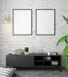Modell-Plakat im Innenraum, 3D Illustration eines modernen Designs, weiße Backsteinmauer Stockbild