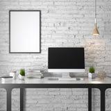 Modell-Plakat im Innenraum, 3D Illustration eines modernen Designs, weiße Backsteinmauer Lizenzfreie Stockbilder