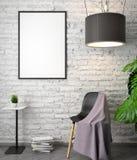 Modell-Plakat im Innenraum, 3D Illustration eines modernen Designs, weiße Backsteinmauer lizenzfreie abbildung