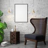 Modell-Plakat im Innenraum, 3D Illustration eines modernen Designs, weiße Backsteinmauer Lizenzfreie Stockfotografie