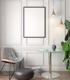 Modell-Plakat im Innenraum, Illustration 3D eines klassischen Designs Lizenzfreie Stockbilder