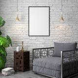 Modell-Plakat im Innenraum, Illustration 3D eines modernen Designs Stockfotografie