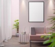 Modell-Plakat im Innenraum, Illustration 3D eines modernen Designs Stockbild