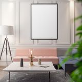 Modell-Plakat im Innenraum, Illustration 3D eines modernen Designs Lizenzfreie Stockfotos