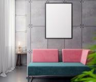 Modell-Plakat im Innenraum, Illustration 3D eines modernen Designs Stockfoto
