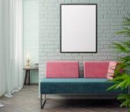 Modell-Plakat im Innenraum, Illustration 3D eines modernen Designs Stockbilder