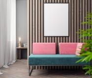 Modell-Plakat im Innenraum, Illustration 3D eines modernen Designs Lizenzfreie Stockfotografie
