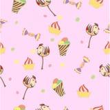 Modell rosa färg, paj, kaka som frysas Arkivfoto