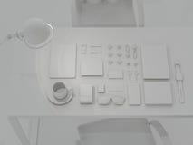 Modell-Schablone Satz Brandingelemente auf grauem Hintergrund Lizenzfreies Stockfoto