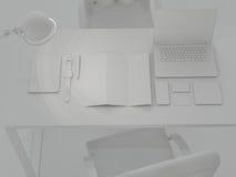 Modell-Schablone Satz Brandingelemente auf grauem Hintergrund Lizenzfreie Stockbilder