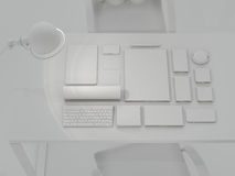 Modell-Schablone Satz Brandingelemente auf grauem Hintergrund Stockfoto