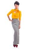 Modell som bär trendiga kläder Fotografering för Bildbyråer