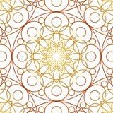 modell texturerad traditionell vektortappning Guld- bakgrund, prydnad som drar Stor knopp för kalejdoskop Royaltyfri Foto