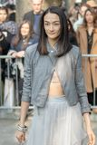 Modell trägt einen grauen Tulle-Rock und eine graue Lederjacke stockfoto