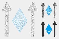 Modell-und Dreieck-Mosaik-Ikone Ethereum Crystal Send Arrows Vector Mesh 2D lizenzfreie abbildung