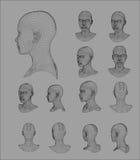 Modell-Vektorillustration Wireframe-Kopfes 3d Stockfotos