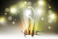Modell verdrehter Chrom DNA-Kette in defektem Boden stock abbildung
