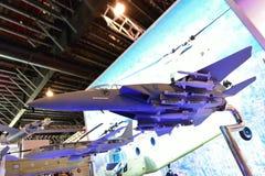 Modell von Adler Boeings F15 auf Anzeige in Singapur Airshow Stockbilder
