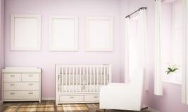 Modell von drei Rahmen auf rosa Wand auf Babyraum stockfotos
