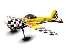 Modell von kontrollierten Radioflugzeugen mit einem Propeller lokalisiert auf weißem Hintergrund lizenzfreie stockfotos