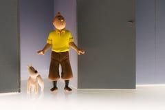 Modell von Tintin und von Snowy im ` das Sternschnuppe ` Stockfotos