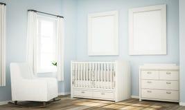 Modell von zwei leeren Rahmen auf Raumwand des blauen Babys lizenzfreie stockfotos